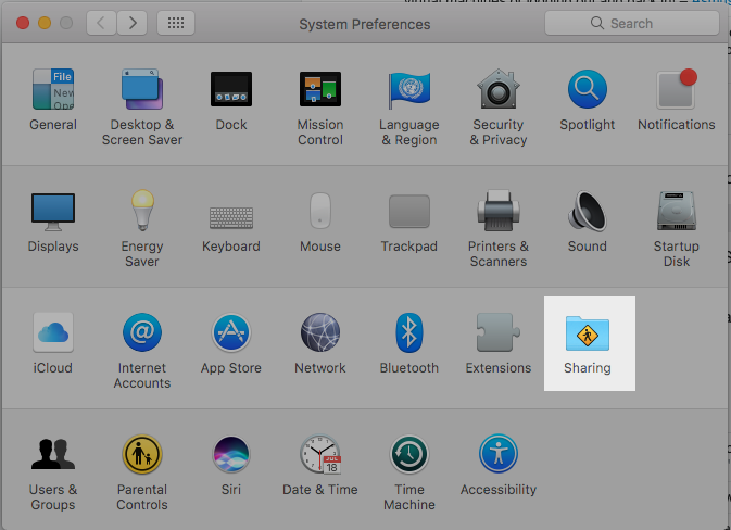 mac sharing preferences